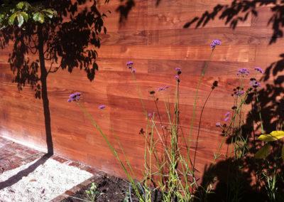 Vlinderlokkende plant tegen de schutting